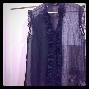 Apt 9 sheer black sleeveless button up blouse